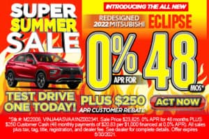 Introducing the all New Redesigned 2022 Mitsubishi Eclipse – 0% for 48 mo PLUS $250 APR Customer Rebate*