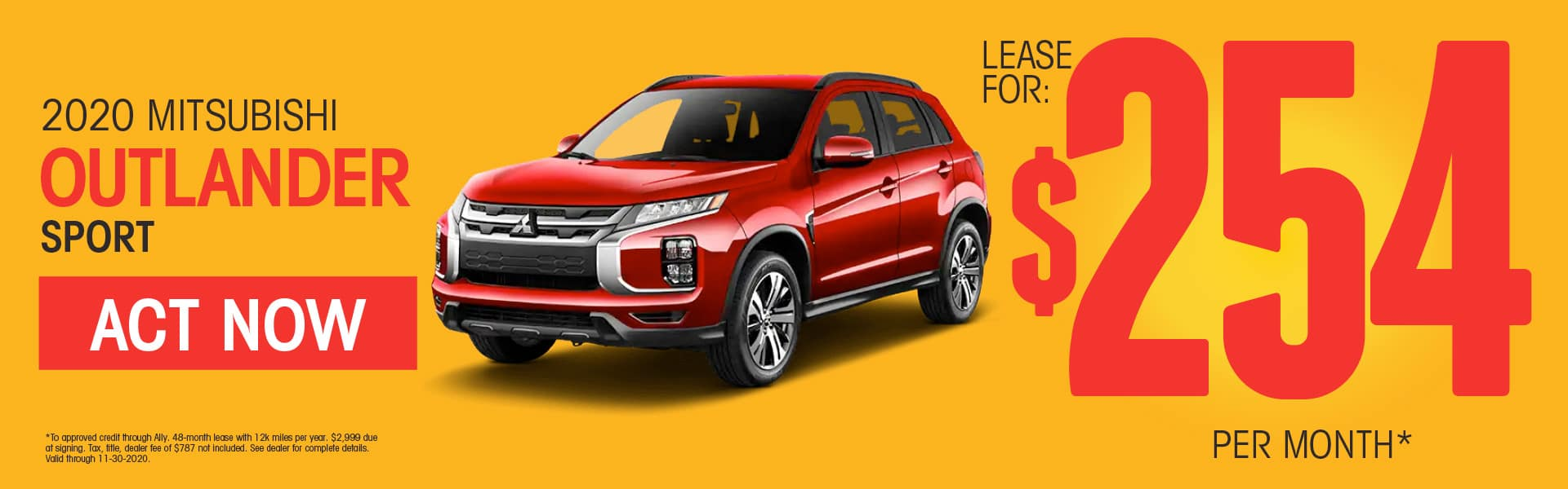 2020 Mitsubishi Outlander Sport Lease for $254 per month* SHOP NOW