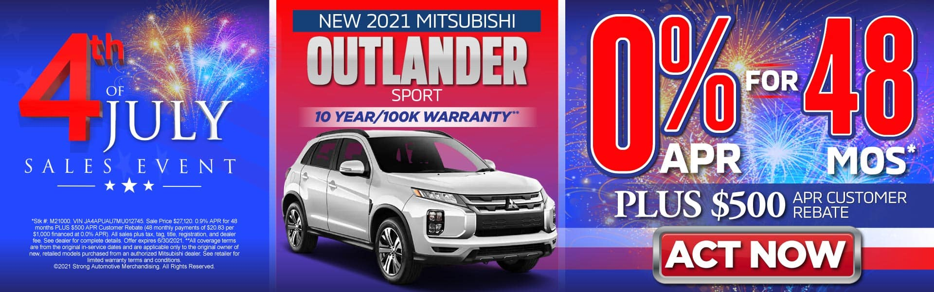 New 2021 Mitsubishi Outlander Sport – 0% for 48 months PLUS $500 APR Customer Rebate* - Act Now