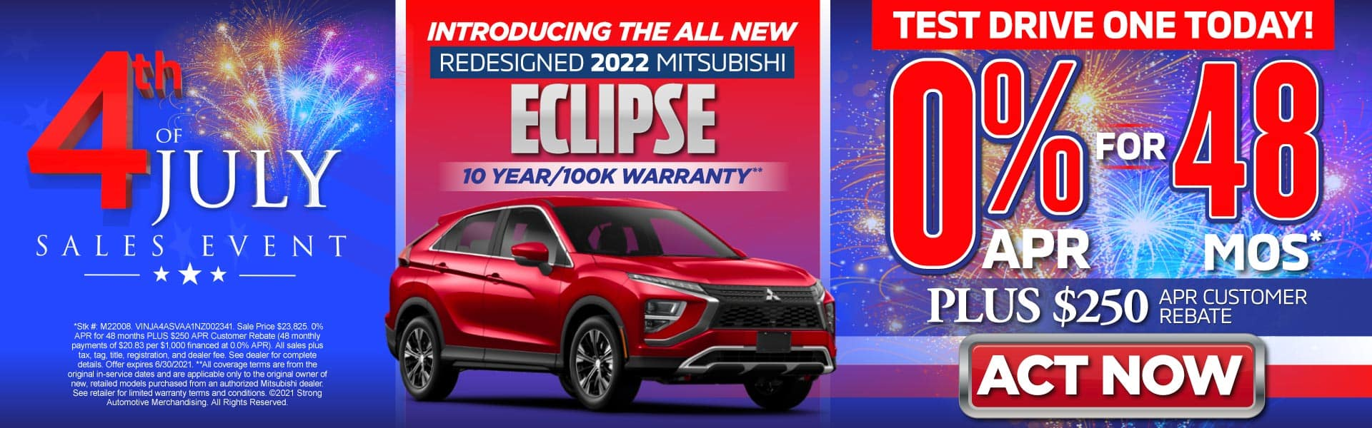 Introducing the All New Redesigned 2022 Mitsubishi Eclipse – 0% for 48 months PLUS $250 APR Customer Rebate* - Act Now