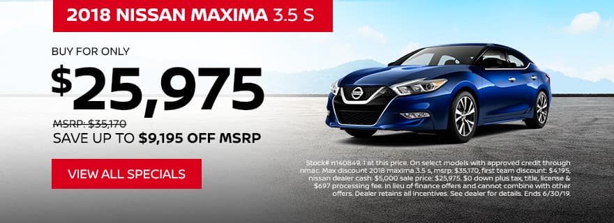 2018 Maxima deal only $25,975