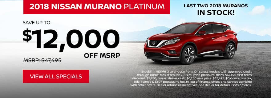 2018 Murano specials offer $12,000 off MSRP
