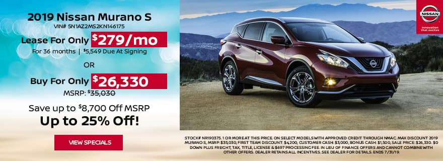 Lease 19 murano just $279 per month
