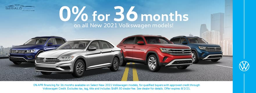 0% for 36 Months on all New 2021 Volkswagen Models