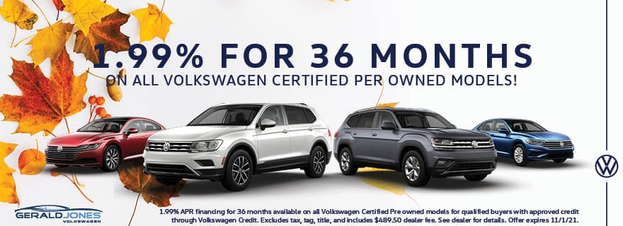 1.99% for 36 Months on Volkswagen Certified Pre-Owned