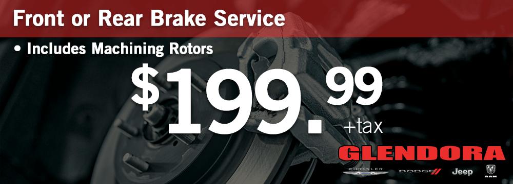 Chrysler Dodge Jeep Ram Brake Service Special $199.99 Plus Tax