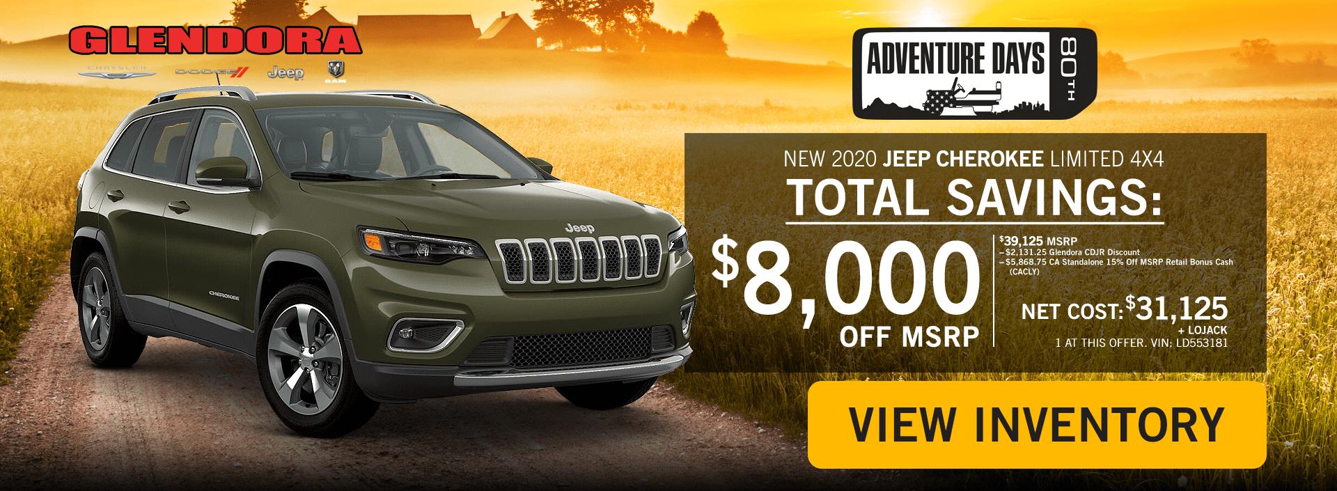 Glendora_CDJR_2020_October_Deals_Jeep_Adventure_Jeep_Cherokee_Home