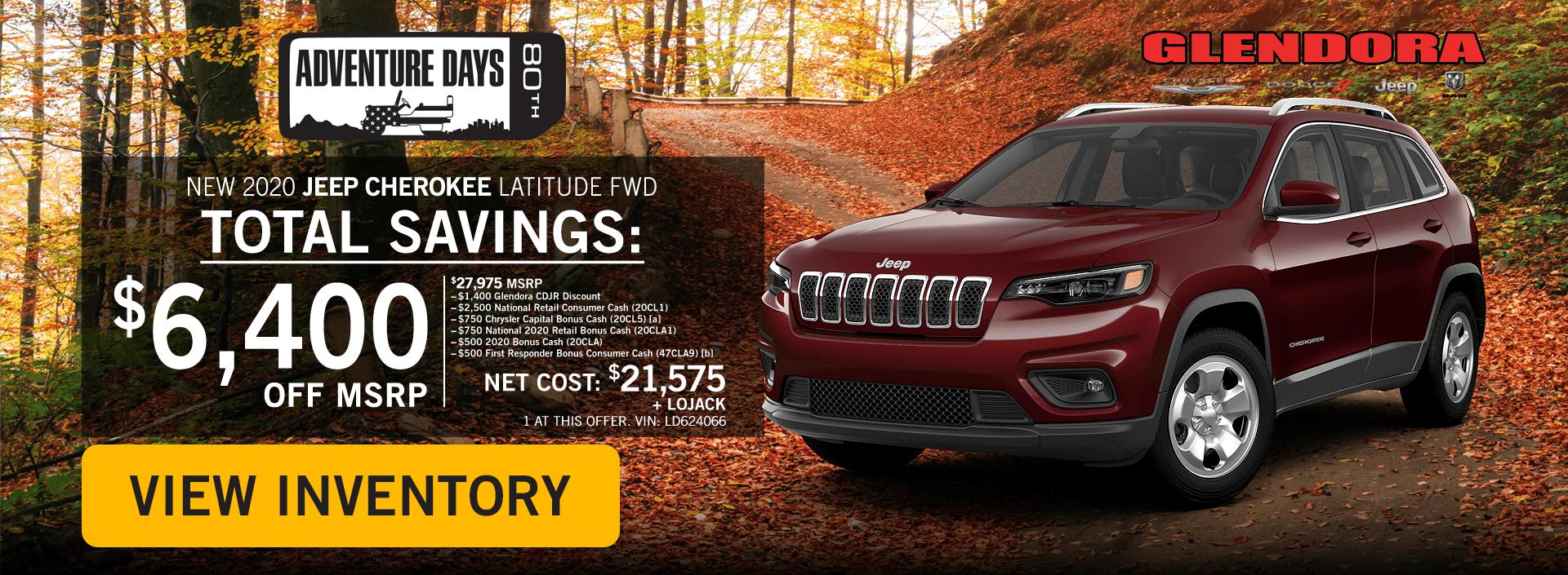 Glendora_CDJR_2020_October_Deals_Jeep_Adventure_Jeep_Cherokee_Latitude_Home1