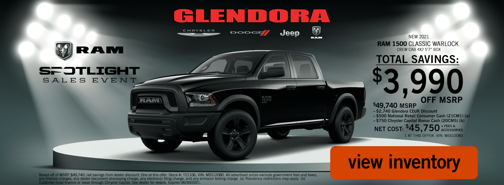 Glendora_CDJR_2021_June_Ram_Spotlight_Sales_Event_Ram_1500_Classic_Warlock_Deal