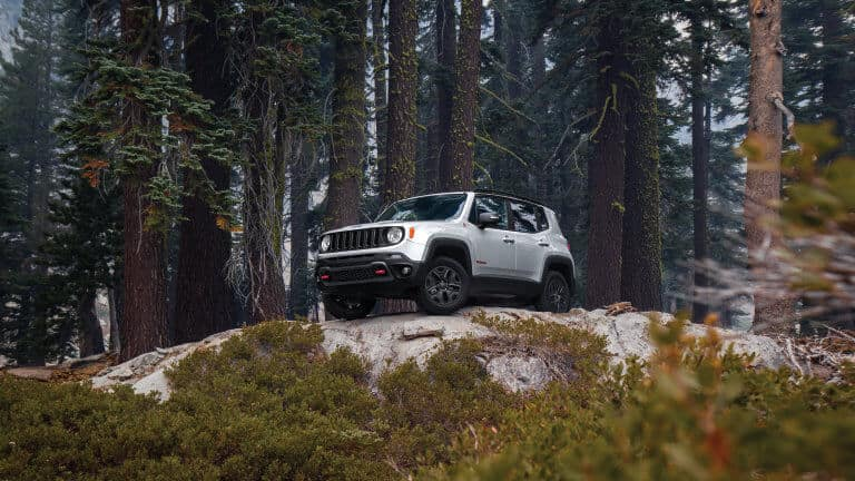 2021 Jeep Renegade parked on a boulder