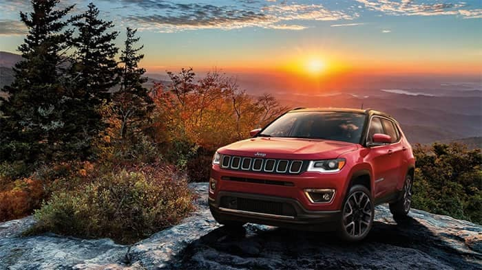 Jeep Compass with Sunset Background