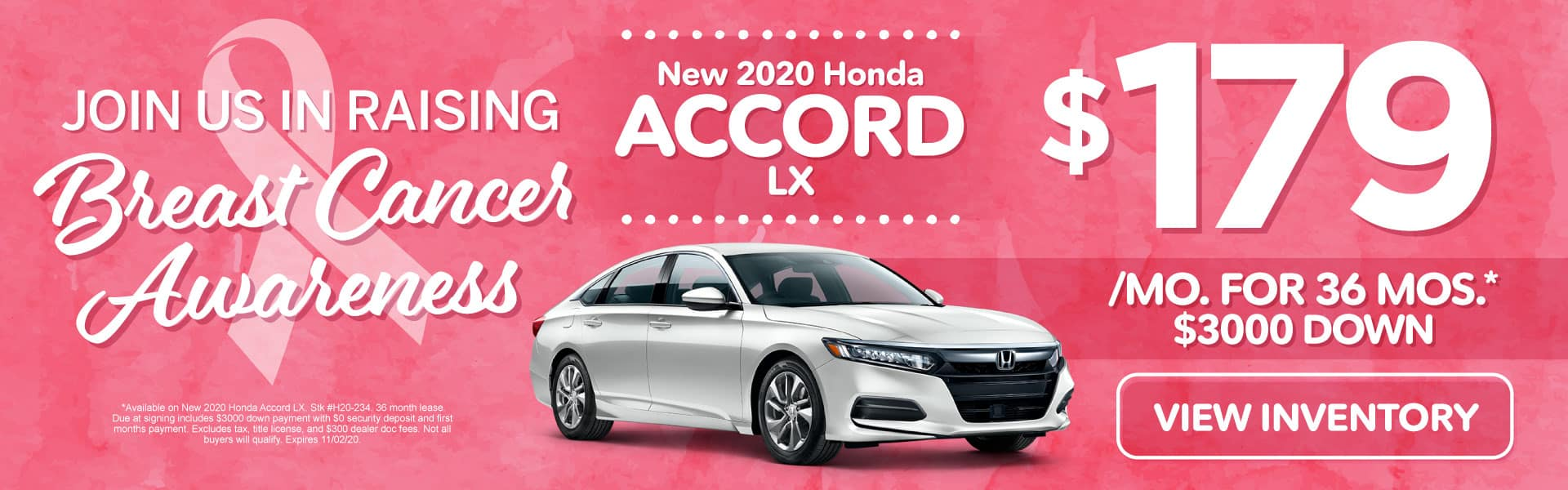 New 2020 Honda Accord | Lease for $179 a month | Click to View Inventory