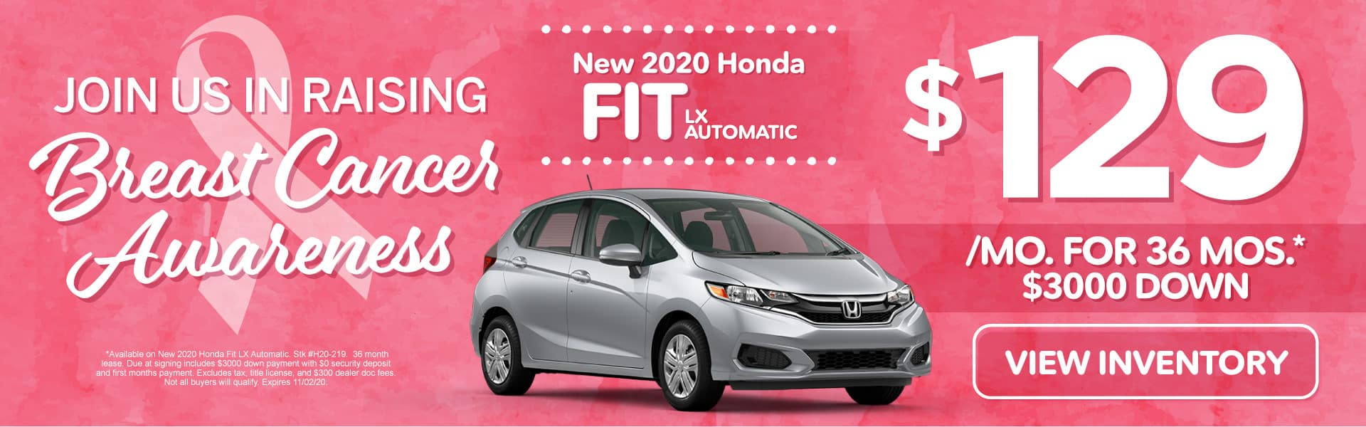 New 2020 Honda Fit | Lease for $129 a month | Click to View Inventory