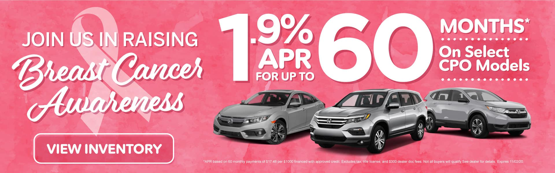 1.9% APR for up to 60 months on select CPO models | Click to View Inventory