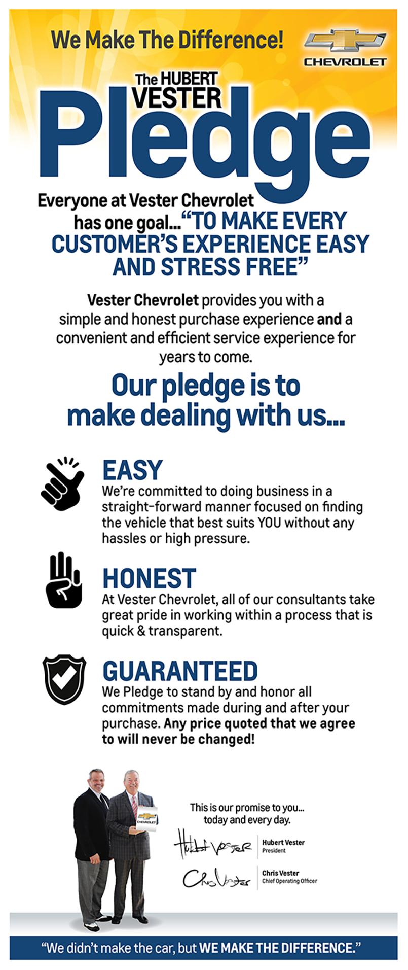 The Hubert Vester Pledge Hubert Vester Chevrolet