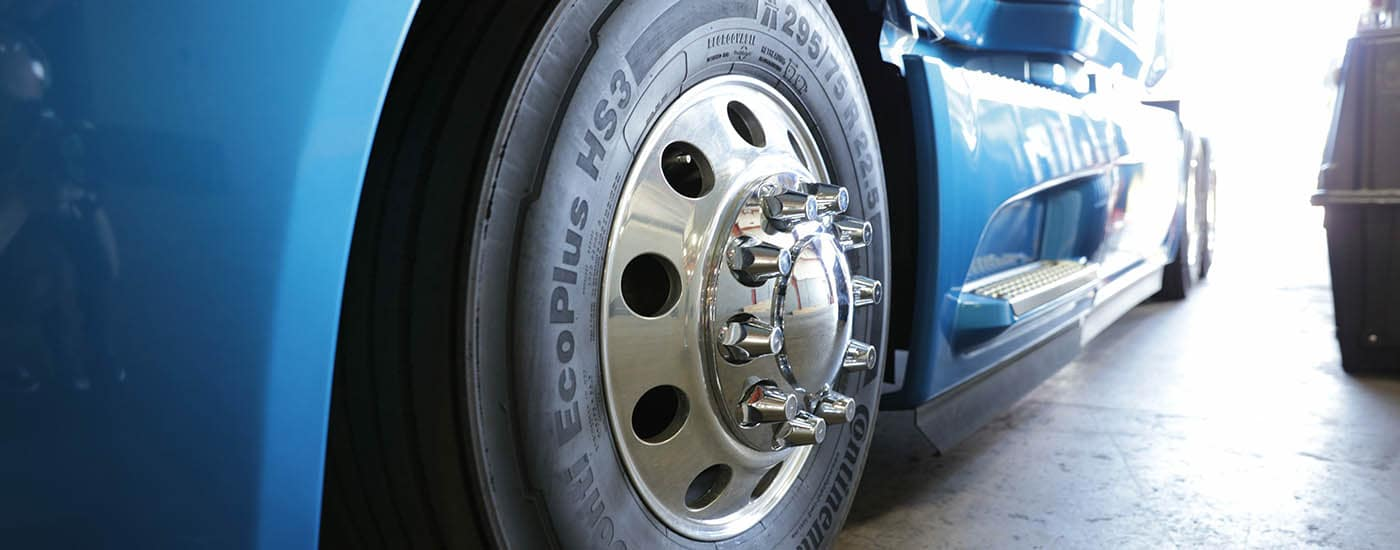 Closeup of Semi Truck Tire