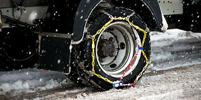Semi Truck Tire with Chains