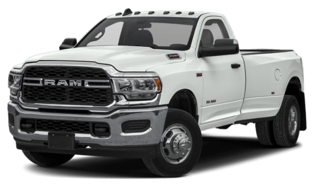 2019 RAM 3500 front view white work truck