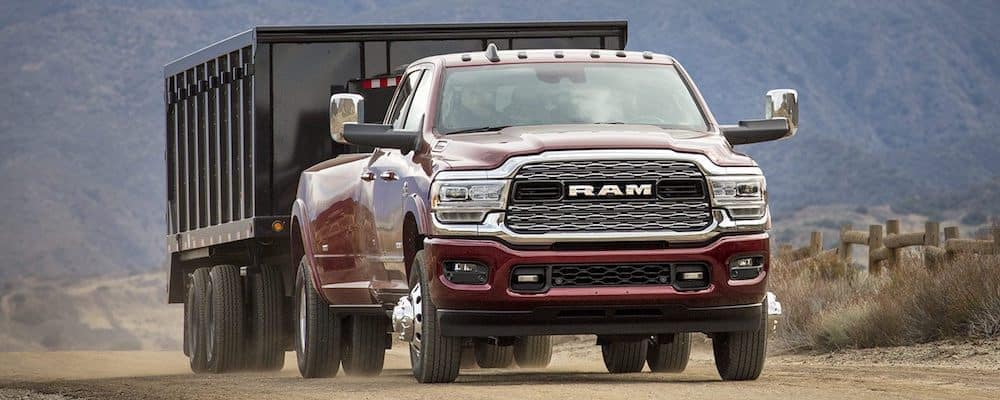 Red 2019 RAM 3500 Towing Trailer