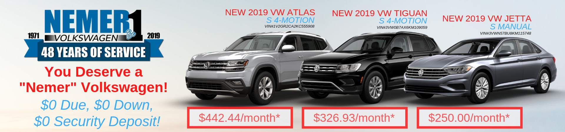 VW $0 Down Leases June 2019