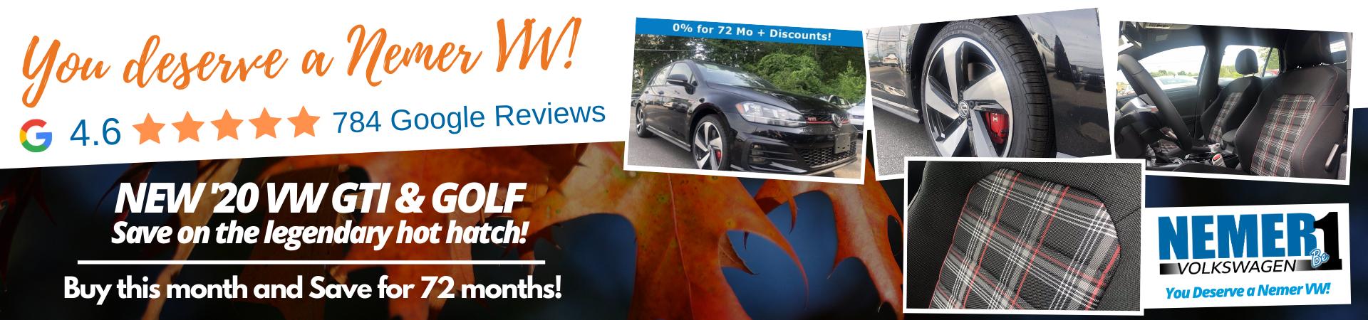 September Nemer VW GTI Golf 0% Offer