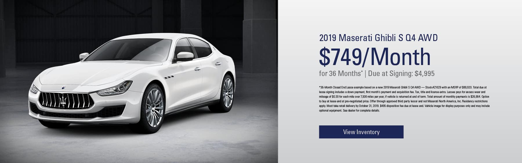 2019 Maserati Ghibli S Q4 AWD 749/ 36 months for mobile