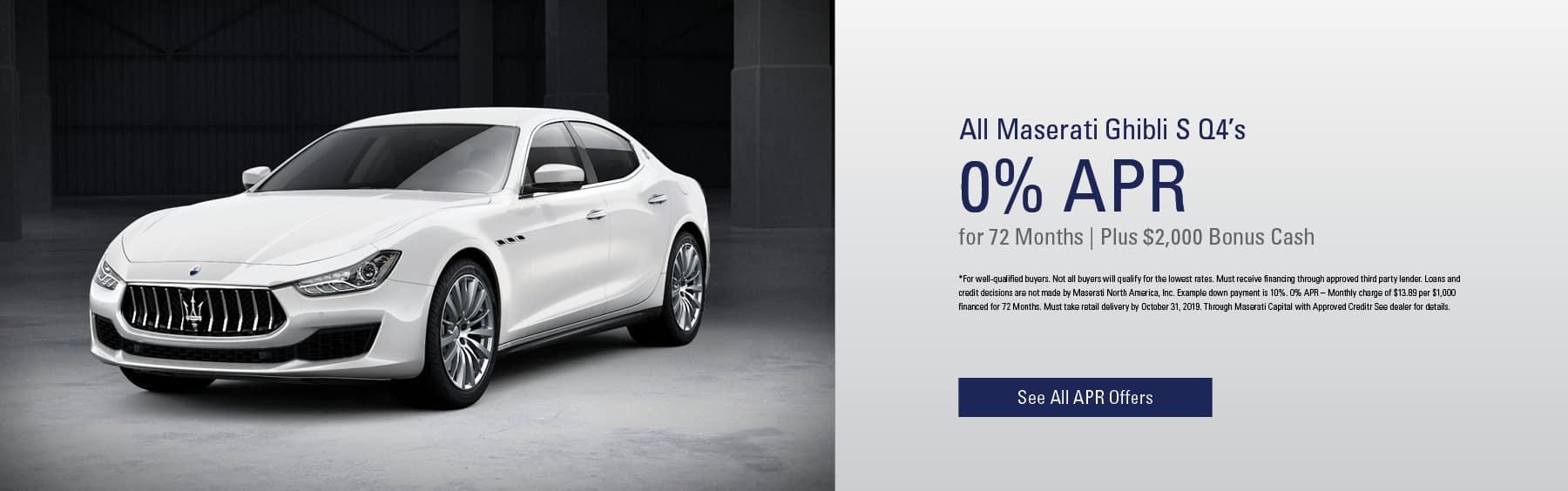 All Maserati Ghibli S Q4's 0% APR/ 72 months