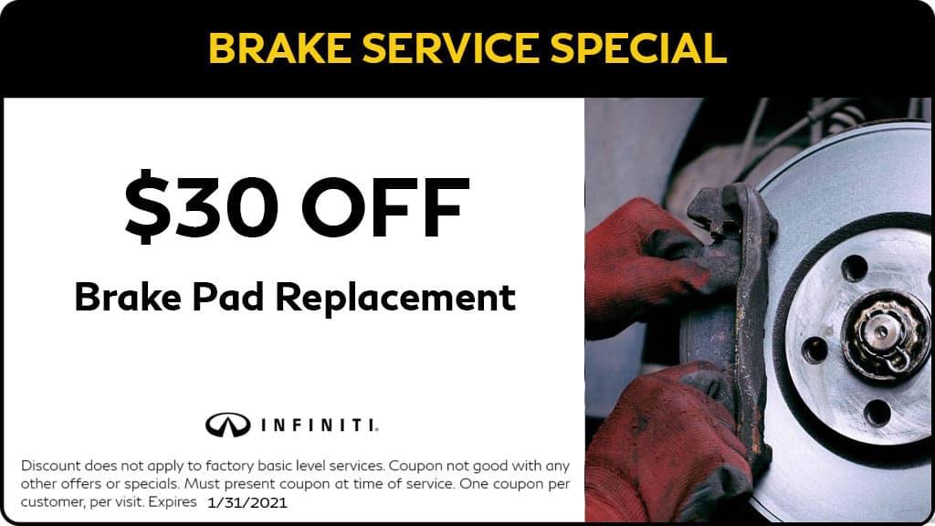 $30 OFF Brake Pad Replacement