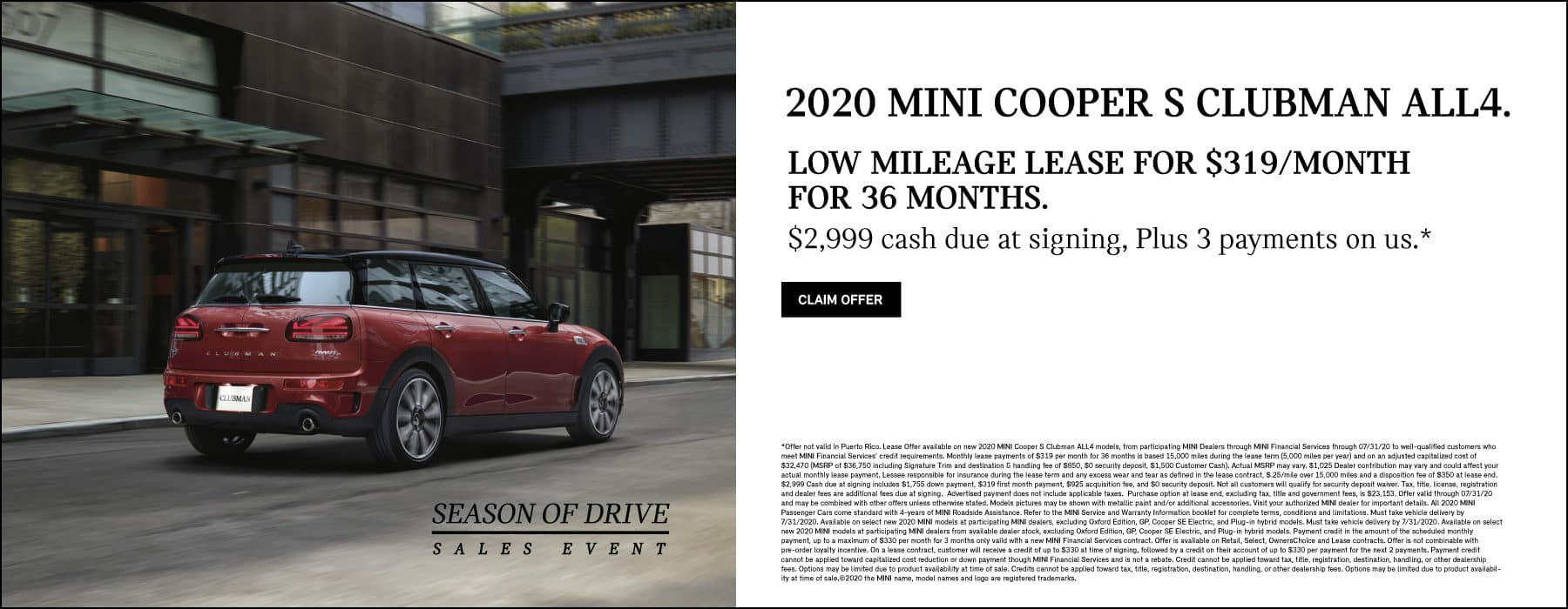 MINI COOPER S CLUBMAN ALL4 #319/MONTH FOR 36 MONTHS