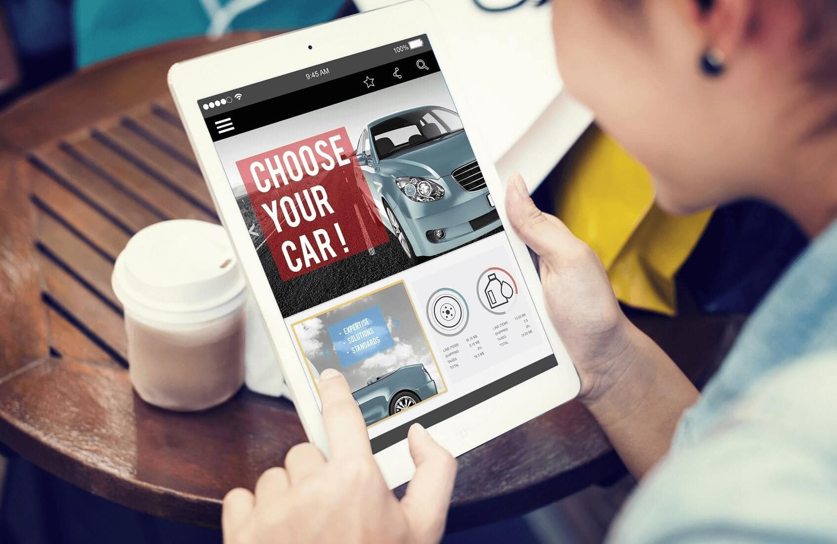 Buying Vehicle Online on Tablet