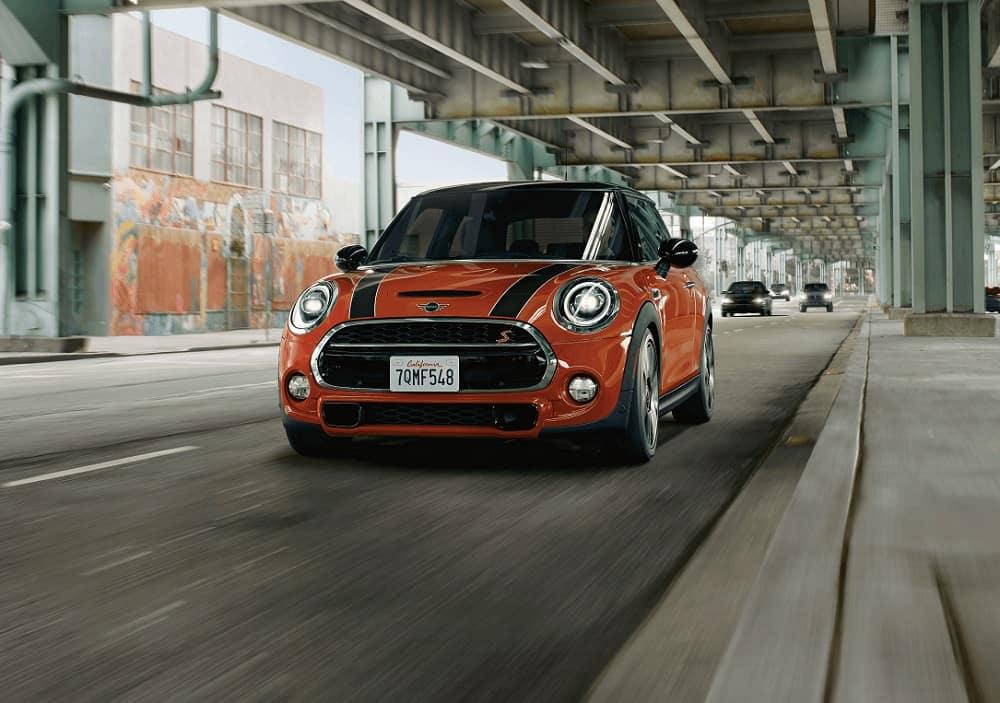 Mini Cooper Driving in City Manhattan NY