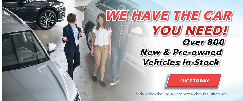Shop over 800 new & used models at Mungenast Honda.