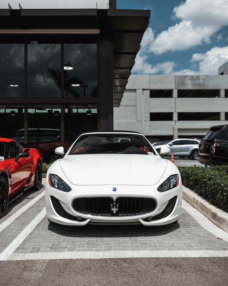white Maserati front view