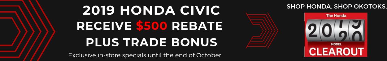 Get your 2019 Honda Civic from Okotoks Honda, South Calgary