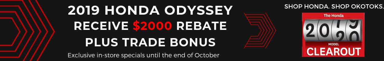 Get your 2019 Honda Odyssey from Okotoks Honda, South Calgary