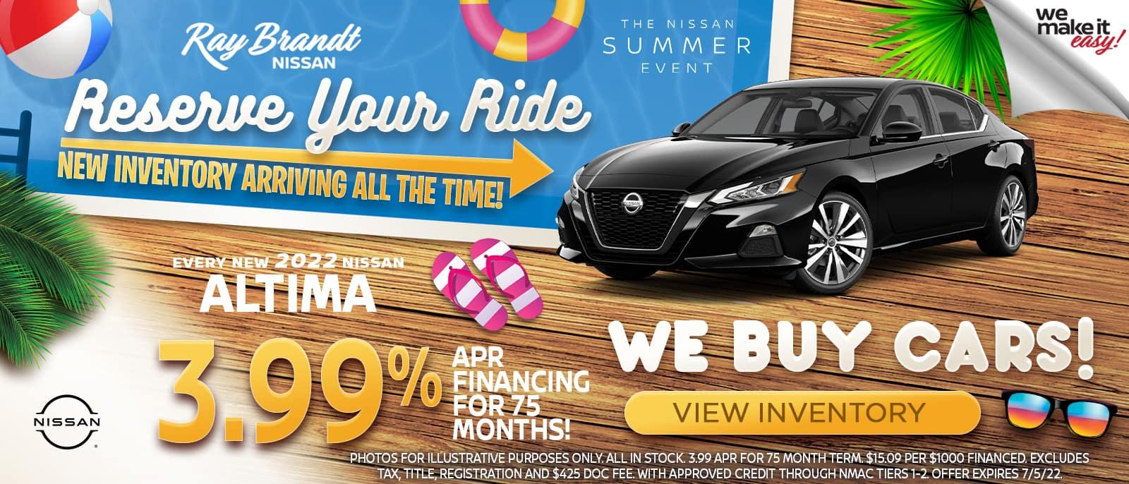 Nissan Altima Sales Special, Summer Savings