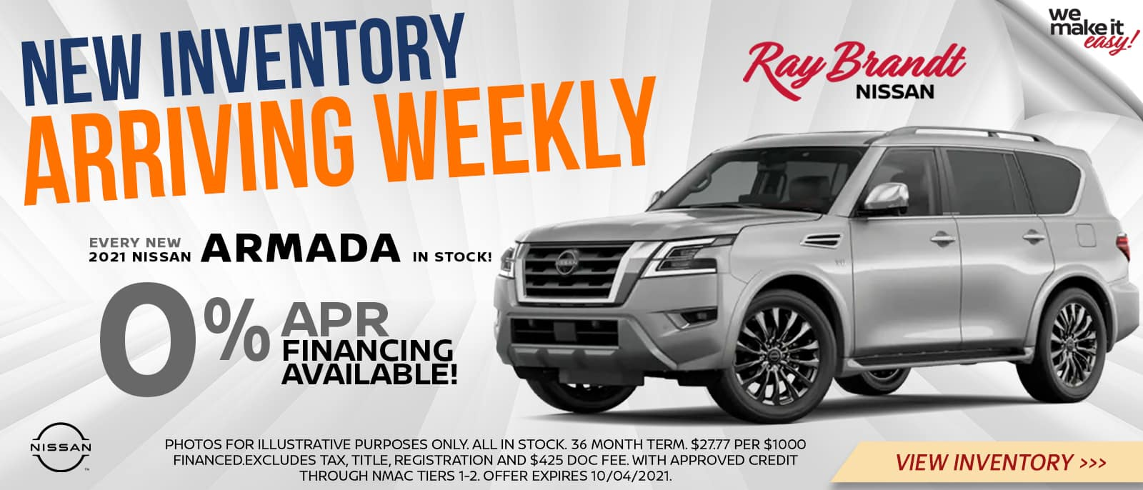 New Inventory Arriving Weekly 0% APR Financing on Nissan Armada