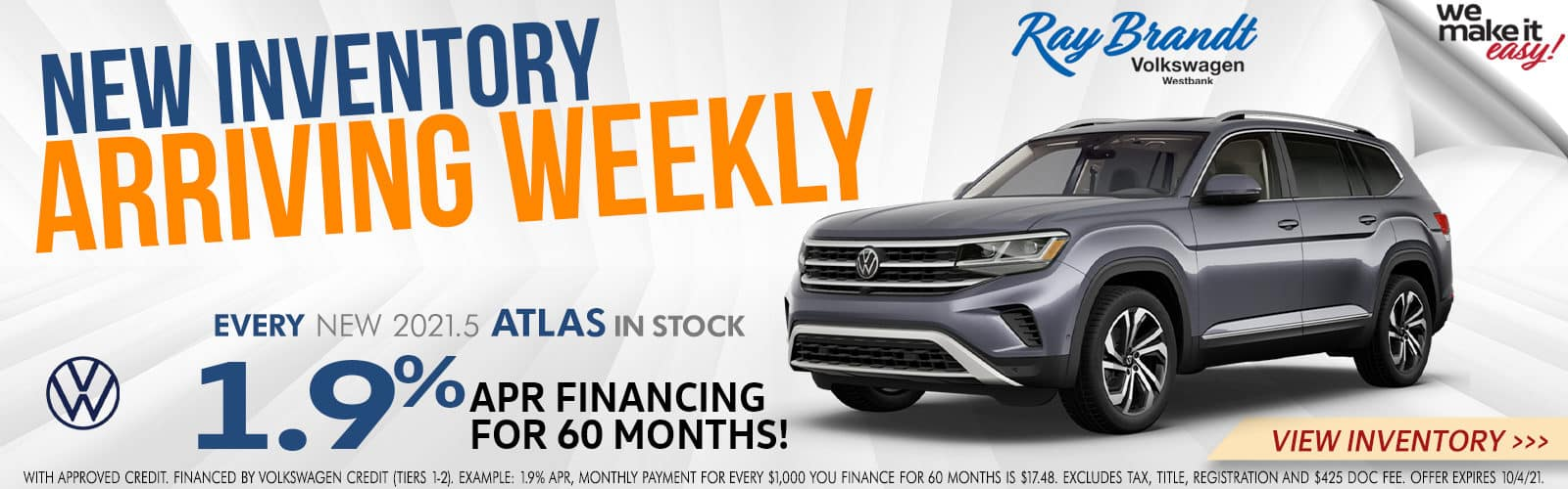 New Inventory Arriving Weekly at Ray Brandt VW