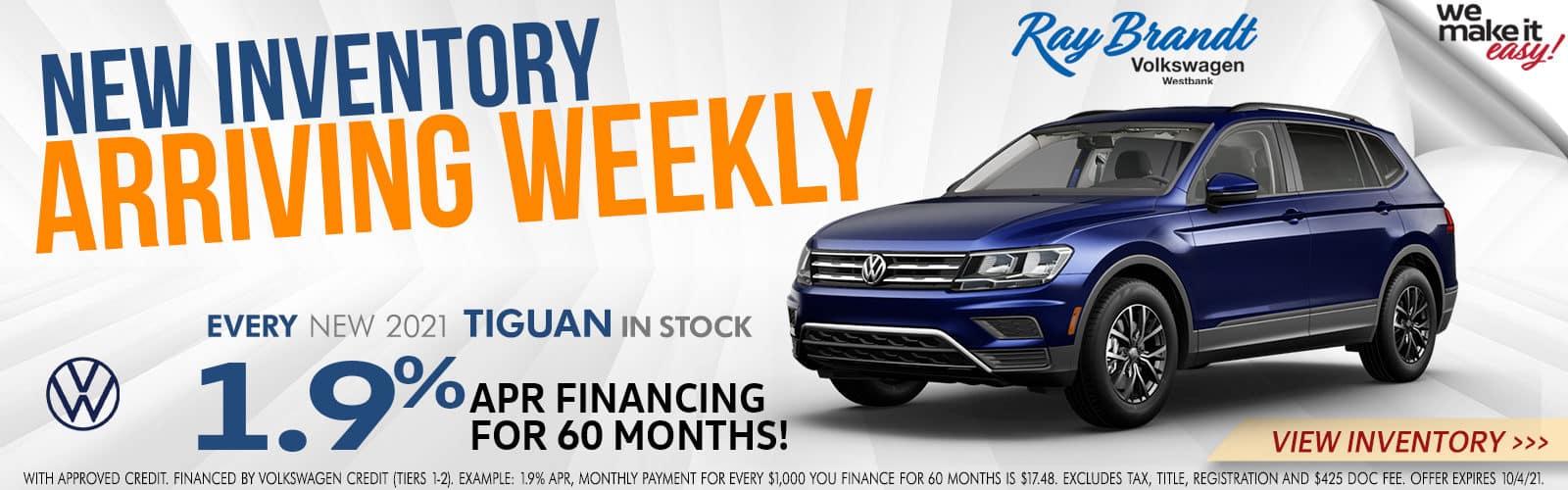 New Inventory Arriving Weekly Volkswagen Tiguan for Sale