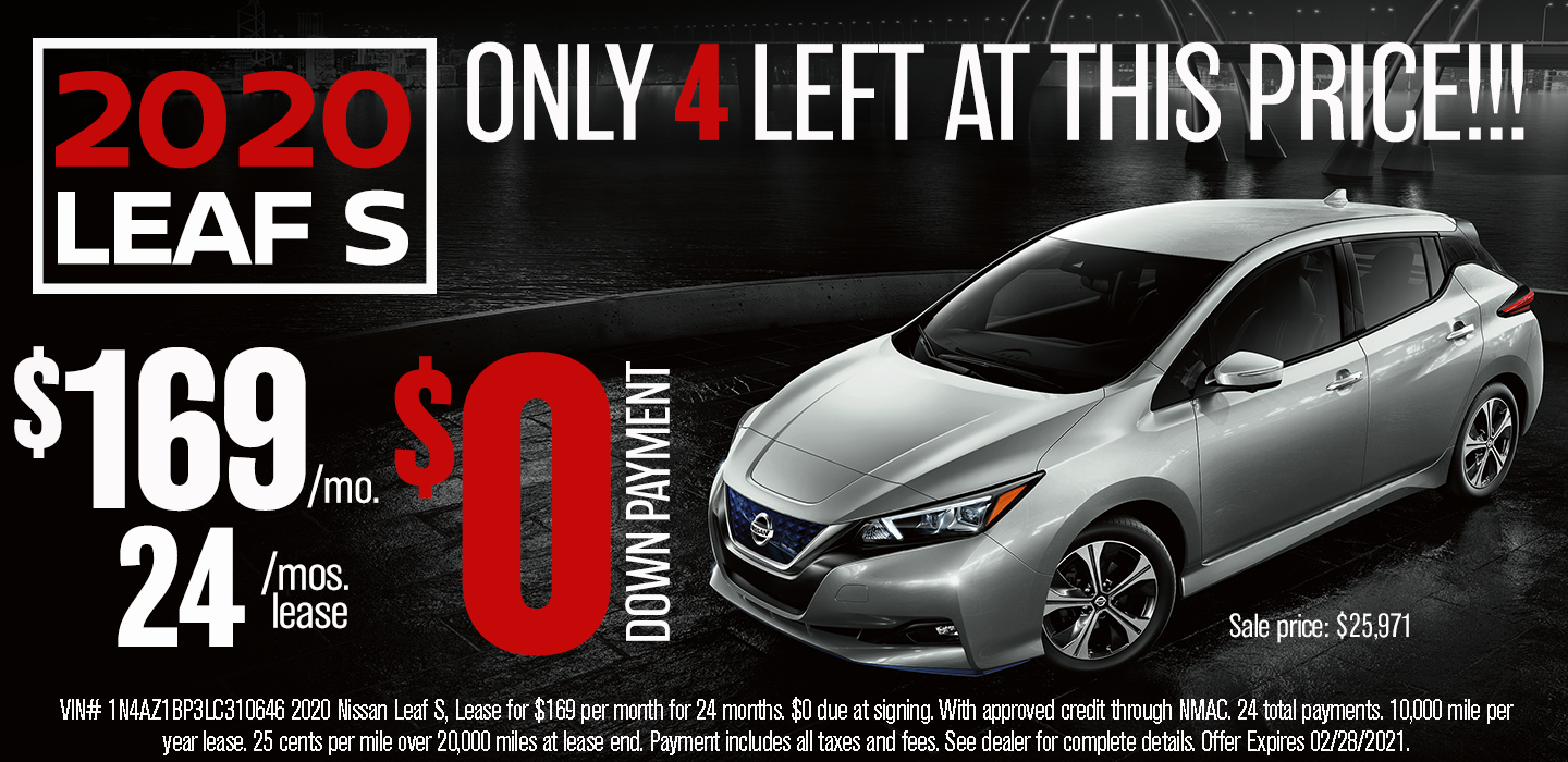 LEAF S LEASE ZERO DOWN $169 PER MONTH ONLY FOUR LEFT AT THIS PRICE