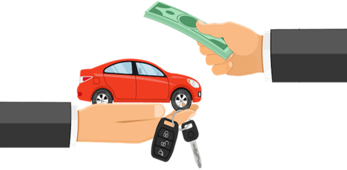 cartoon drawing of person handing over money for a car