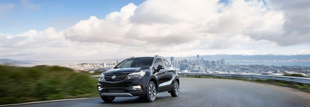 2020 buick encore driving through the countryside