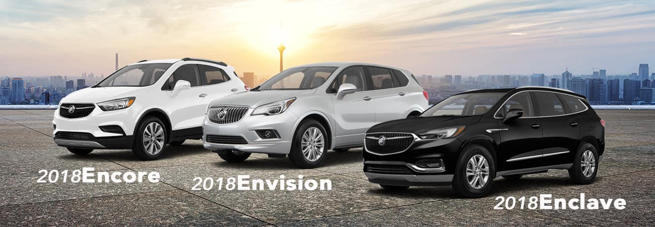 A custom image of three Buick SUVs parked next to each other