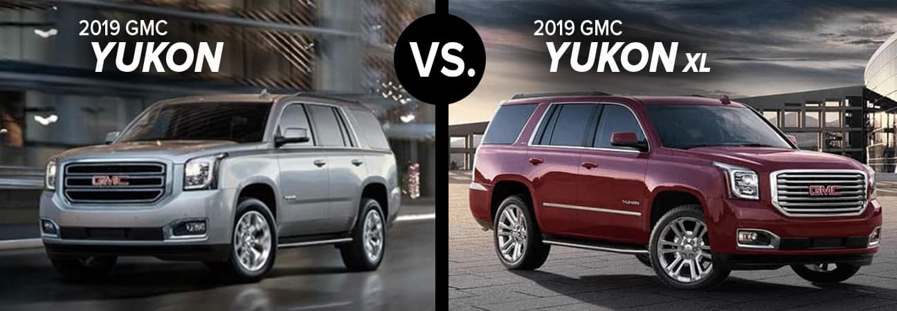 A custom image of a 2019 GMC Yukon next to the 2019 GMC Yukon XL