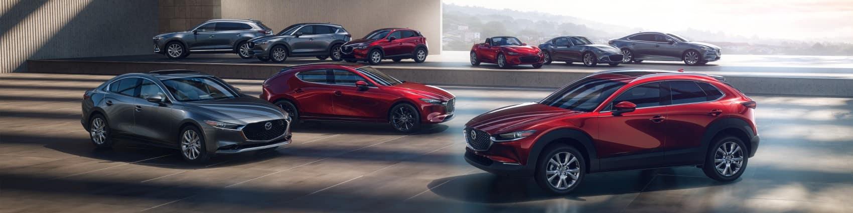 2020 Mazda lineup parked in parking garage