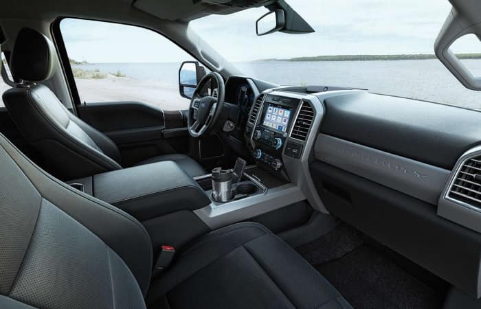 The spacious interior of the 2019 Ford F-250