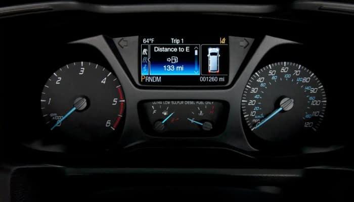 Digital instrument cluster inside the Ford Transit