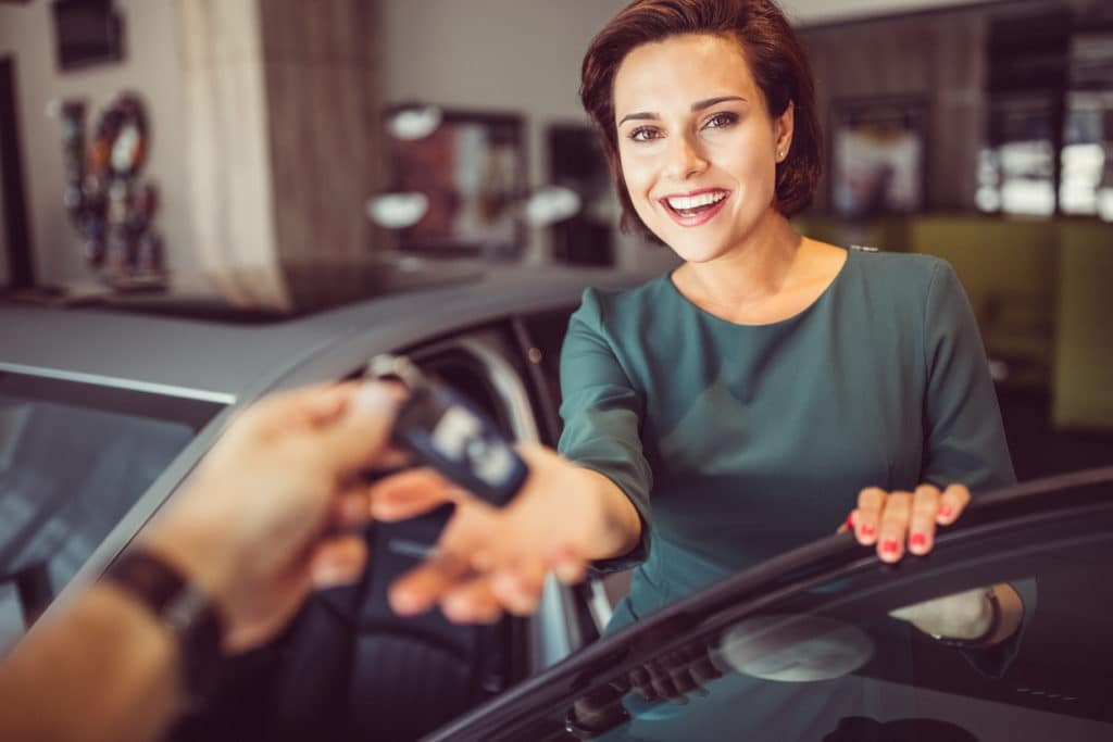 Women buying car