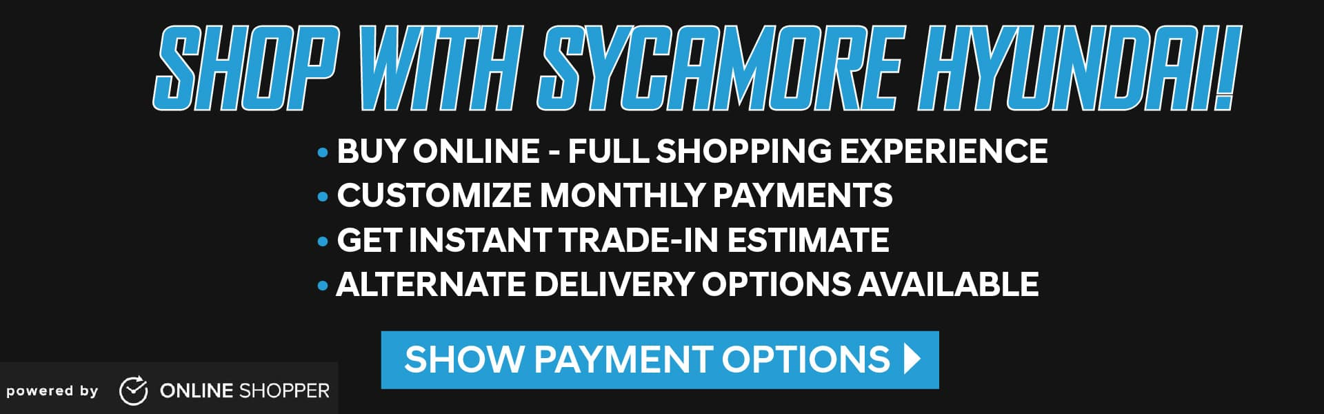 Buy Online with Sycamore Hyundai - click here for payment options