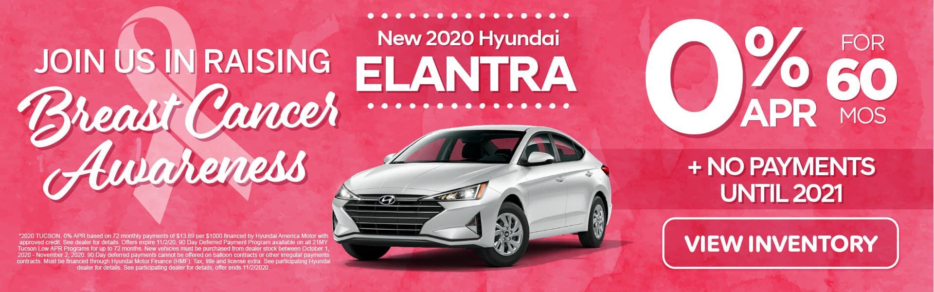 2020 Elantra 0% APR for 60 months